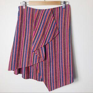 A New Day Rainbow Striped Asymmetrical Skirt